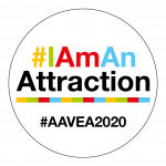 Attractions 2020 Button badge for social media-White
